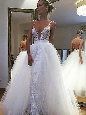 Shabby Chic Sleeveless Tulle Lace Floor-Length Spaghetti Straps Wedding Dresses_1