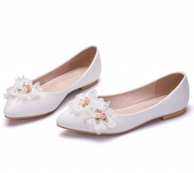Fashion Pionted Toe PU Flat Wedding Shoes with Flowers_2