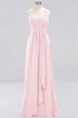 A-line  Spaghetti Straps Sleeveless Ruffles Floor-Length Bridesmaid Dresses_2
