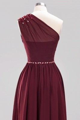Fashion A-Line One-Shoulder Bridesmaid Dresses | Chiffon Sleeveless Beaded Wedding Party Dresses_18