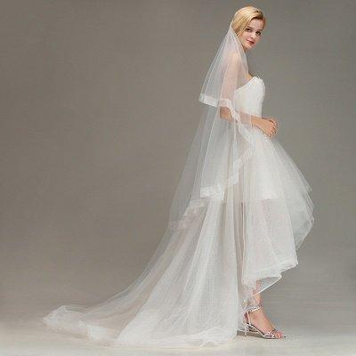 One Layer Cut Edge Wedding Veil Soft Tulle Bridal Veil_5