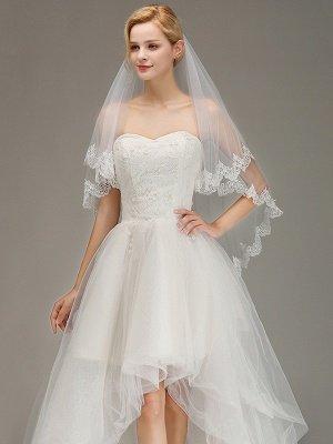 Elegant Two Layers Lace Edge Wedding Veil Appliques Long Bridal Veil_2