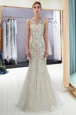 Mermaid Round Neck Sleeveless Keyhole Back Beaded Prom Dress | Evening Dress 2019_2