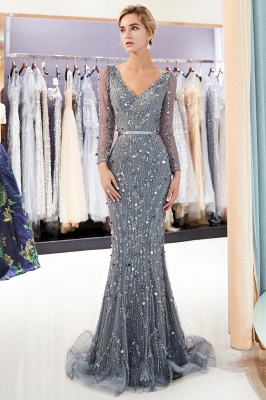 Mermaid  Sequins V-neck Long-Sleeves Prom Dress with Sash | 2019 Evening Dress_1