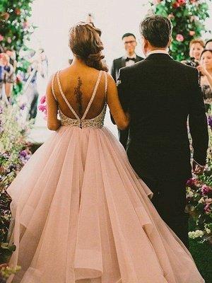 Organza Scoop Puffy Beaded Sweep Train Sleeveless Wedding Dresses_3