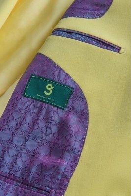 High Quality Peak Lapel Groomsmen Slim Fit Daffodil Single Breasted_6