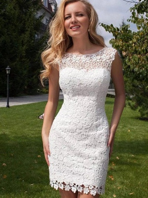 Gorgeous Lace Tulle Sleeveless Wedding Dresses | Column Scoop Floor-Length Birdal Gowns_4