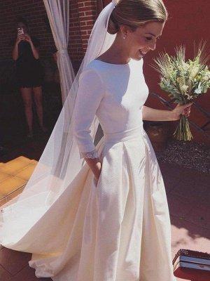 Glamorous Sweep Train Ruffles Scoop Satin 3/4 Sleeves Wedding Dresses_3