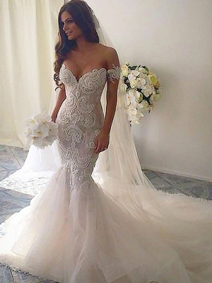 Off-the-Shoulder Tulle Chapel Train Sleeveless Sexy Mermaid Wedding Dresses_3