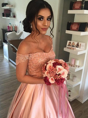 Sleek Satin Cathedral Train Sleeveless Ruffles Off-the-Shoulder Puffy Wedding Dresses_4
