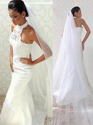 Sweep Train Sleeveless Satin Halter Sexy Mermaid Wedding Dresses_1