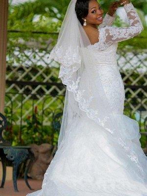 Chapel Train Organza Long Sleeves Square Sexy Mermaid Applique Wedding Dresses_3