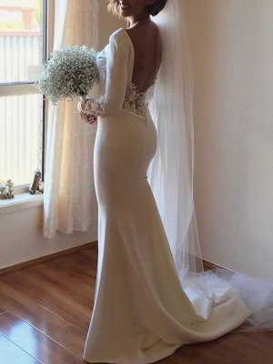 Dazzling Lace Satin Long Scoop Court Train Sleeves Sexy Mermaid Wedding Dresses_3