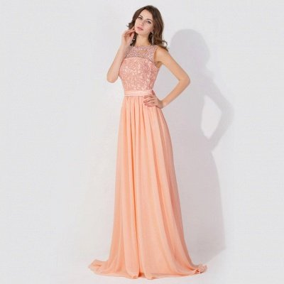 A-Line  Lace Jewel Sleeveless Floor-Length Bridesmaid Dress with Ruffles_3