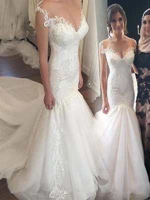 Off-the-Shoulder Sexy Mermaid Sleeveless Lace Chapel Train Tulle Wedding Dresses_1