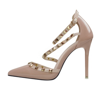 Fashion Pionted Toe High Heel Buckle Wedding Shoes with Rivets_3