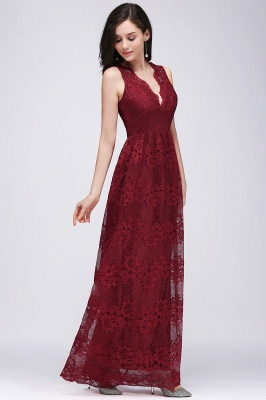 A-Line Lace Deep-V-Neck Sleeveless Floor-Length Bridesmaid Dresses_3