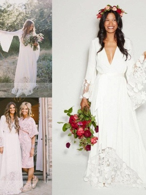 Alluring Floor-Length V-neck Chiffon Long Sleeves Lace Ribbon Wedding Dresses_1