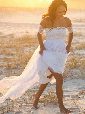 Sleeveless Floor-Length Off-the-Shoulder Lace Chiffon Wedding Dresses_1
