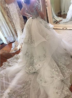 Tulle High-Neck Appliques Detachable-Train Long Sleeves Glamorous Wedding Dresses_3