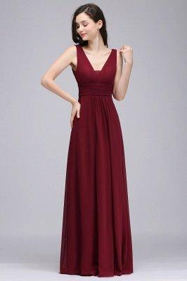 Elegant A-Line  V-Neck Sleeveless Ruffles Floor-Length Bridesmaid Dresses_1