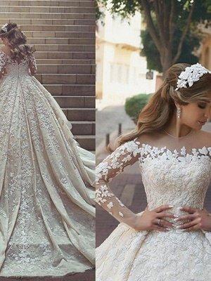 Elegant Long Sleeves Satin Scoop Chapel Train Applique Puffy Wedding Dresses_1