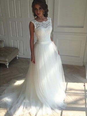 Charming Tulle Square Court Train Sleeveless Wedding Dresses_1