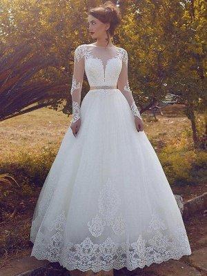 Sleek Tulle Floor-Length Long Sleeves Puffy Bateau Wedding Dresses_1