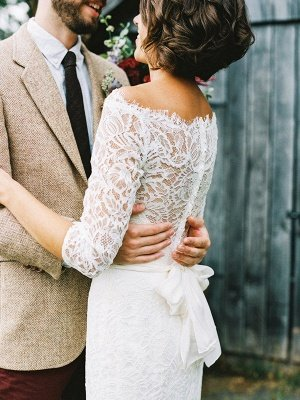 Barn Casual Wedding Dresses With 3/4 Sleeves | Sweep Train Lace Bridal Dress_3