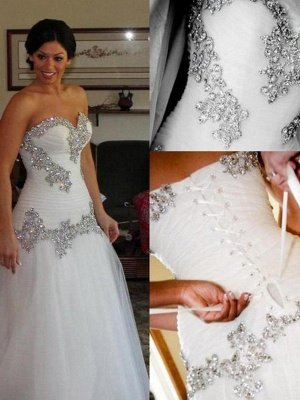 Sleek Floor-Length Rhinestone Sleeveless Tulle Sweetheart Wedding Dresses_3