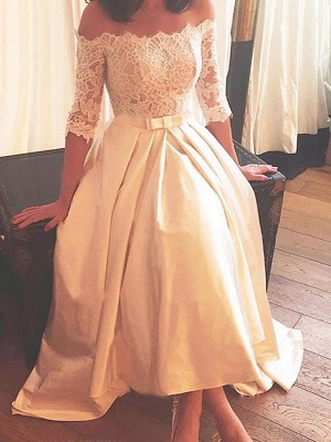 1/2 Sleeves Asymmetrical Satin Off-the-Shoulder Lace Wedding Dresses_2