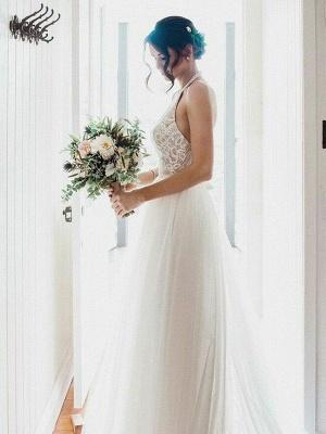 Lace Sleeveless Tulle Floor-Length Halter Wedding Dresses_4
