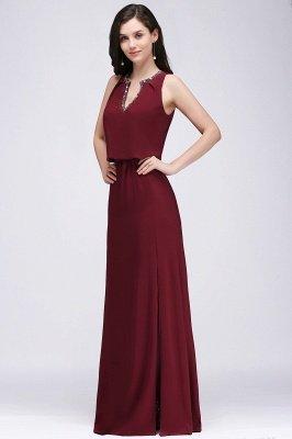 A-line  V-Neck Sleeveless Front-Split Floor-length Bridesmaid Dress with Crystal_3