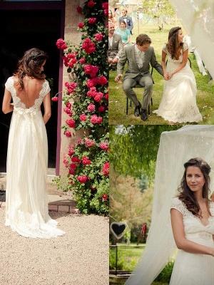 Affordable V-neck Sweep Train Sleeveless Tulle Beaded Wedding Dresses_1