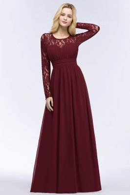 Elegant A-Line  Jewel Long Sleeves Ruffles Floor-Length Bridesmaid Dresses_4
