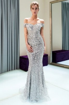 Mermaid Silver Sequins Off-the-shoulder Long Prom Dress | 2019 Evening Dress_1