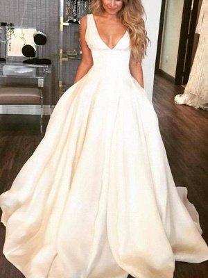 Sweep Train Ruffles A-Lines Wedding Dresses | Satin Sleeveless V-neck Bridal Gowns_1