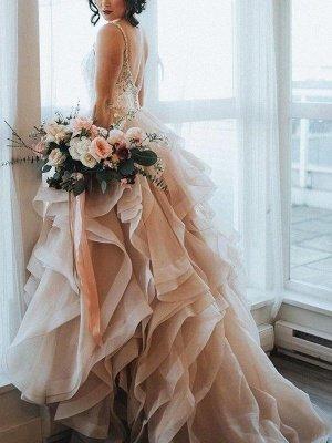 Charming Sleeveless Sweep Train Sweetheart Ruffle Lace Organza Wedding Dresses_1