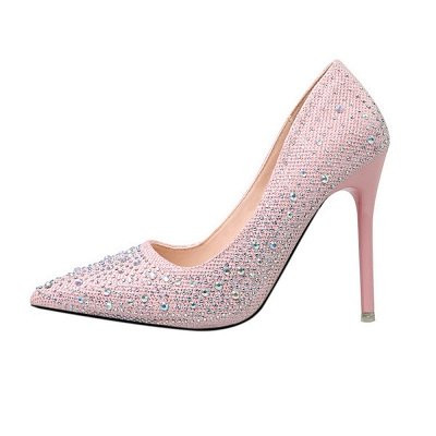 Fashion Pionted Toe High Heel Wedding Shoes with Beadings_6