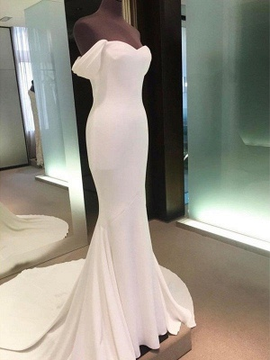 Short Sleeves Satin Sheath Wedding Dresses | Column Court Train Off-the-Shoulder Bridal Gowns_5