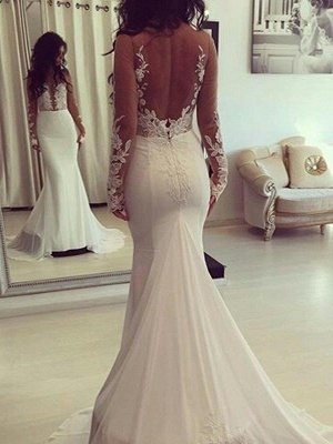 Court Train Satin Long Sleeves Scoop Sexy Mermaid Wedding Dresses_1