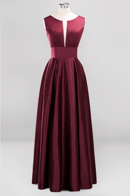 A-line Satin Deep-V-Neck Sleeveless Ruffles Floor-length Bridesmaid Dress_1