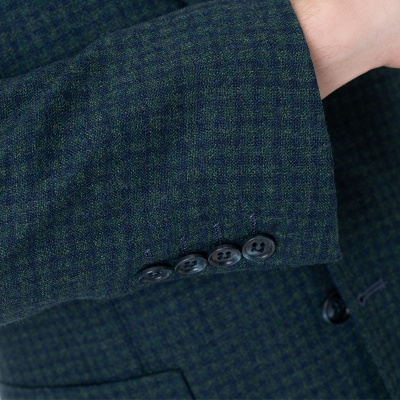 Customize Lattice Two-piece Suit Peak Lapel Single Breasted Career Suits_4