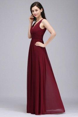 Elegant A-Line  V-Neck Sleeveless Ruffles Floor-Length Bridesmaid Dresses_3