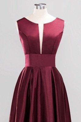 A-line Satin Deep-V-Neck Sleeveless Ruffles Floor-length Bridesmaid Dress_4