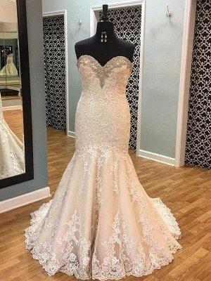 Sleek Court Train Sleeveless Applique Sweetheart Tulle Sexy Mermaid Wedding Dresses_1