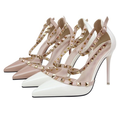 Fashion Pionted Toe High Heel Buckle Wedding Shoes with Rivets_7