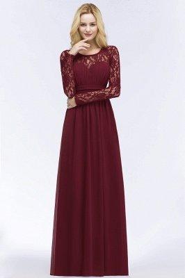 Elegant A-Line  Jewel Long Sleeves Ruffles Floor-Length Bridesmaid Dresses_3