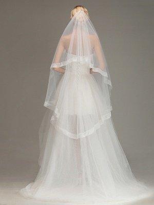 One Layer Cut Edge Wedding Veil Soft Tulle Bridal Veil_1