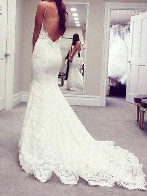 Court Train Sleeveless Sexy Mermaid Lace Wedding Dresses_3